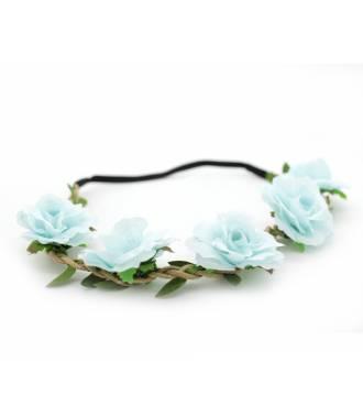 Bandeau fleuri cérémonie bleu