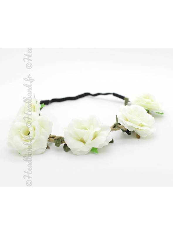 Bandeau fleuri cérémonie beige