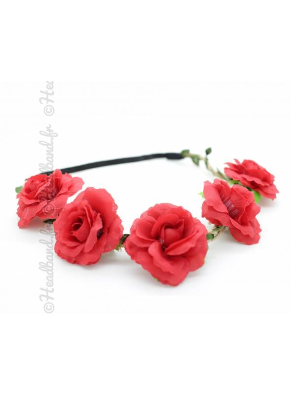 Bandeau fleuri cérémonie rouge