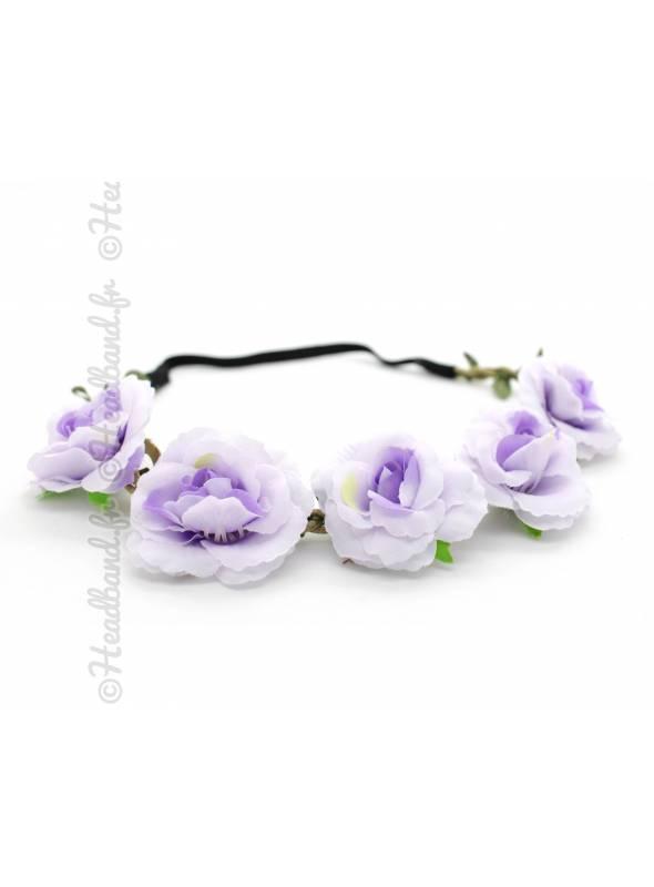 Bandeau fleuri cérémonie mauve