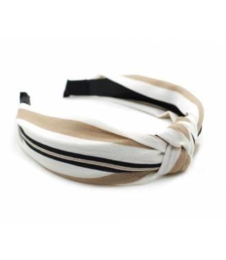 Serre-tête turban noeud rayé beige