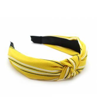 Serre-tête turban jaune à rayures