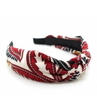 Serre-tête noeud turban rouge