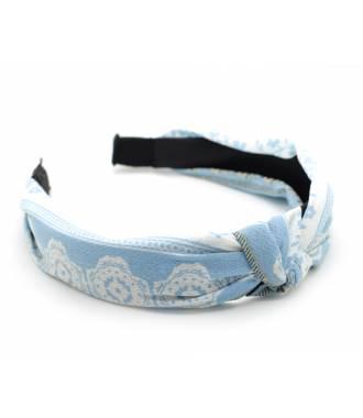 Serre-tête noeud croisé bleu pastel