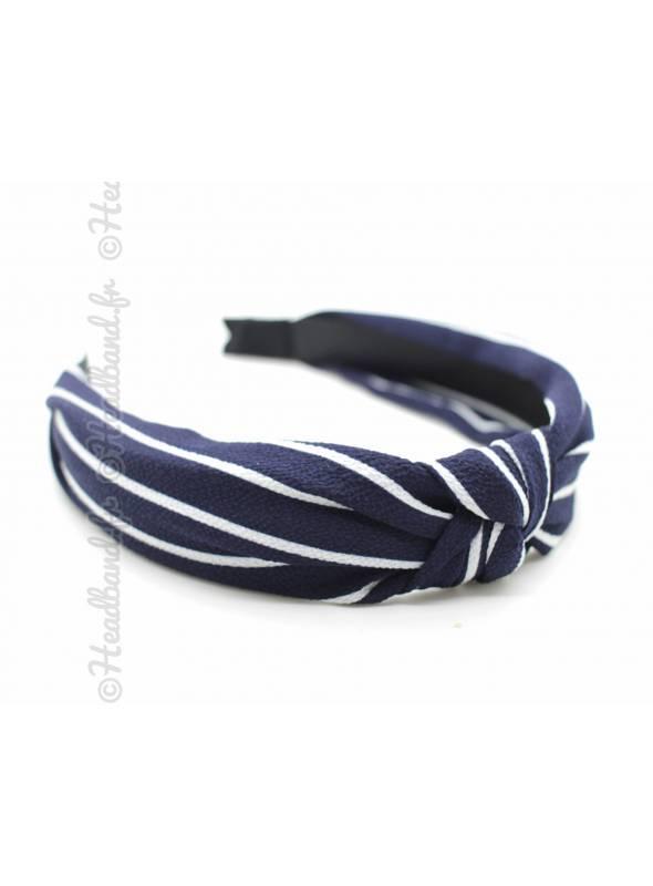 Serre-tête effet turban rayures bleu marine