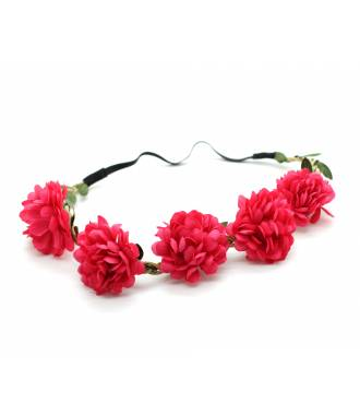 Bandeau boho fleurs textile stretch framboise