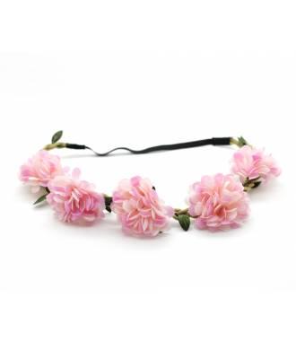 Bandeau boho fleurs textile stretch rose