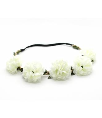 Bandeau boho fleurs textile stretch crème