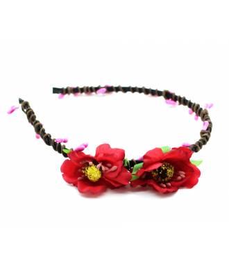 Tour de tête cérémonie cordage fleur rouge