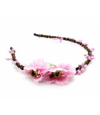 Tour de tête cérémonie cordage fleur rose