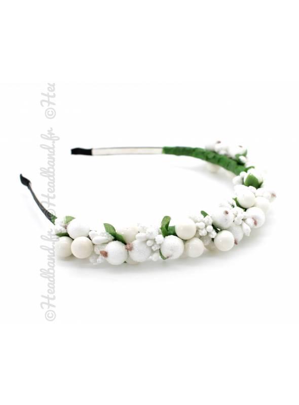 Serre-tête demoiselle d'honneur bourgeons blanc