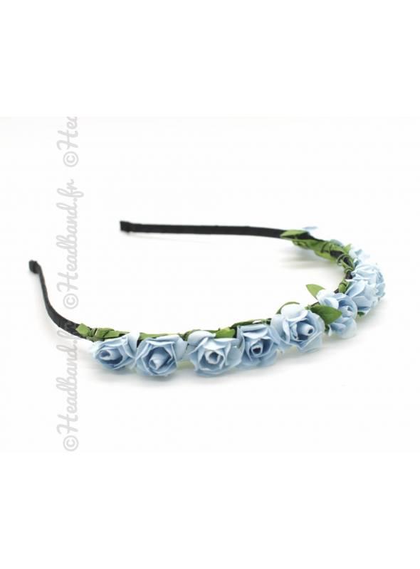 Serre-tête fleuri bohème bleu clair