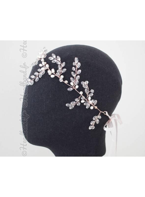 Bandeau de mariée cristaux et perles Ovalie