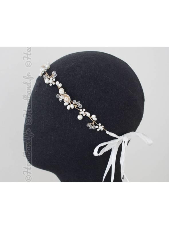 Headband de mariée fleurs dorées Léonce