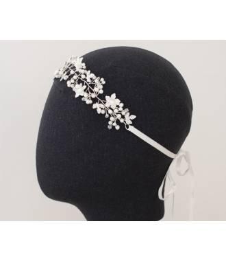 Tour de tête de mariée fleurs et perles nacre Gaby