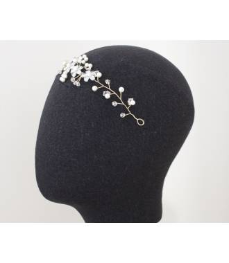 Tiare de mariée blanche avec perles Karina