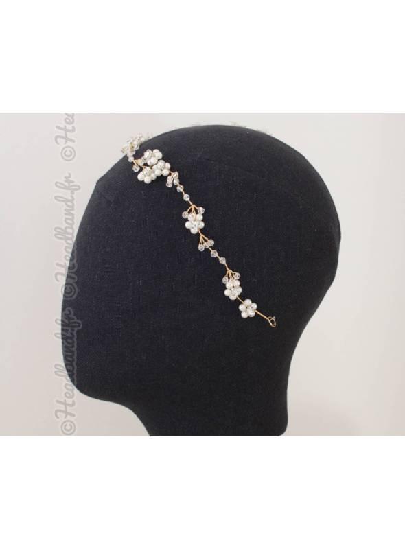 Tiare de mariée en perles nacrées Mona
