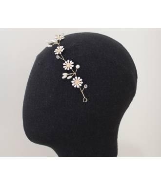 Tiare ajustable mariée fleurs blanches émail