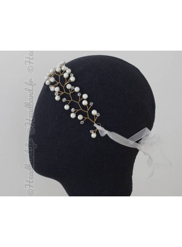 Bijou de tête en perles à nouer romantique