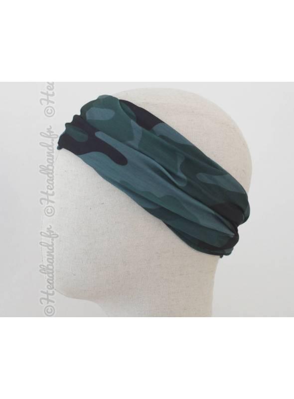 Headband multifonction motif camouflage vert