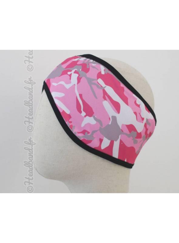 Bandeau sport en polaire camouflage rose