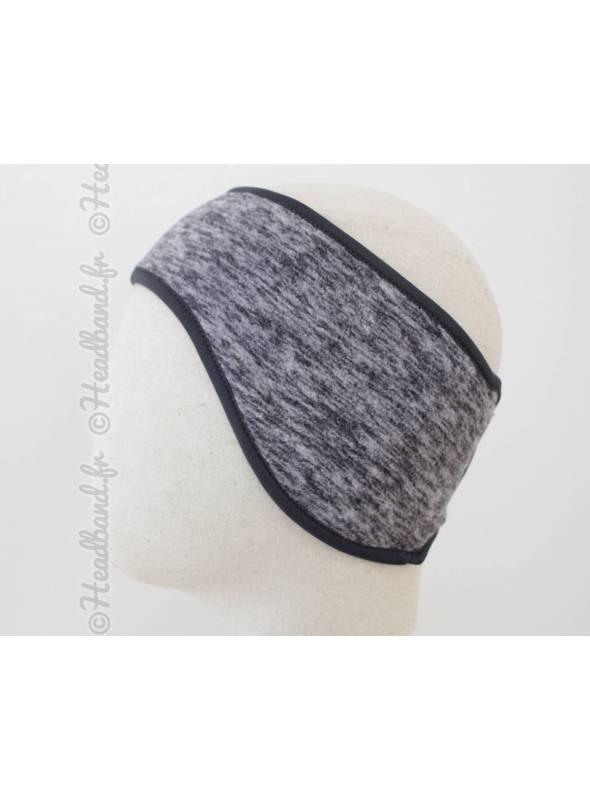 Bandeau cheveux polaire gris chiné