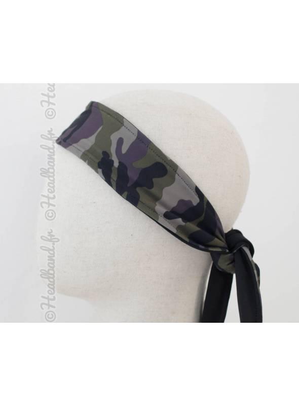 Headband homme à nouer en lycra camouflage