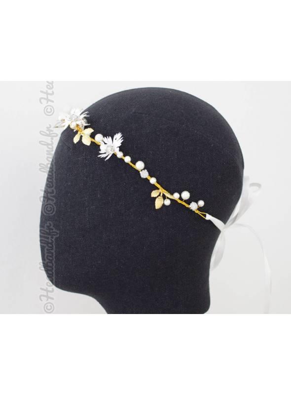 Headband de mariée petites feuilles dorées Julia