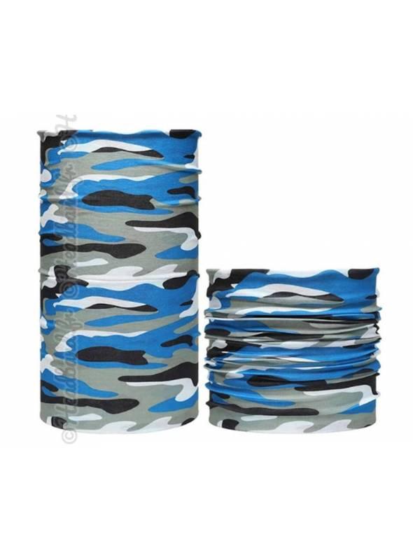 Headband multifonction imprimé camouflage bleu