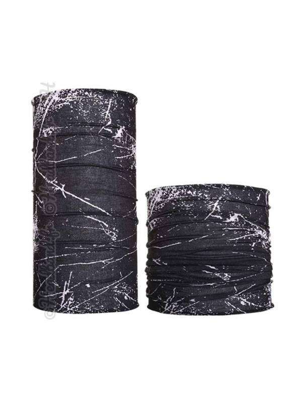Headband multifonction motif grunge noir et blanc