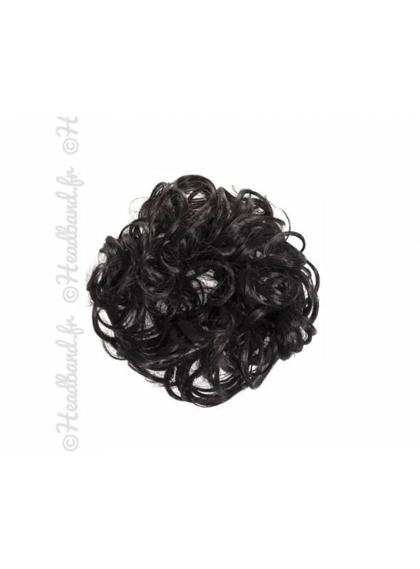 Chouchou en cheveux postiche - Noir