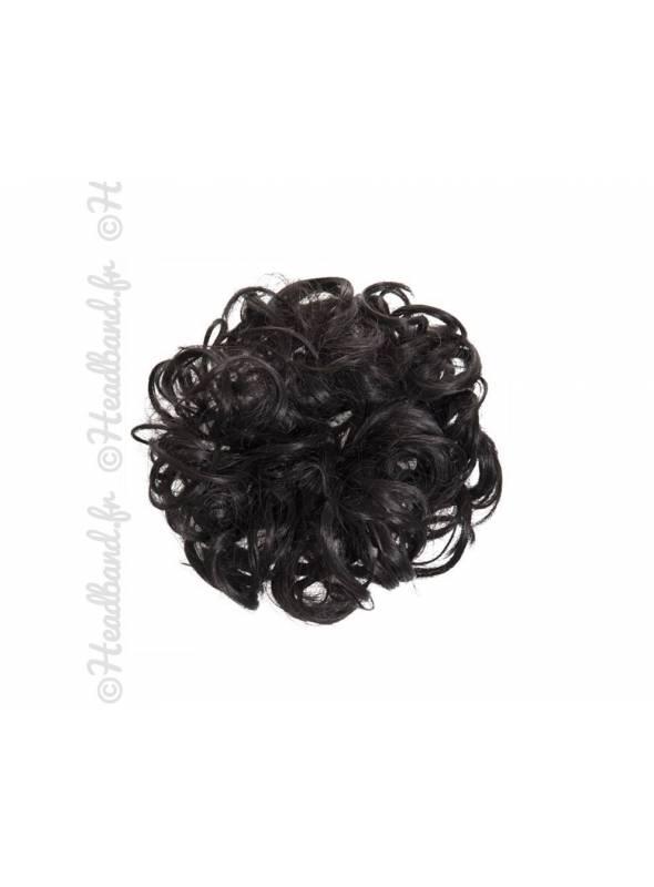 Chouchou en cheveux postiche - Brun