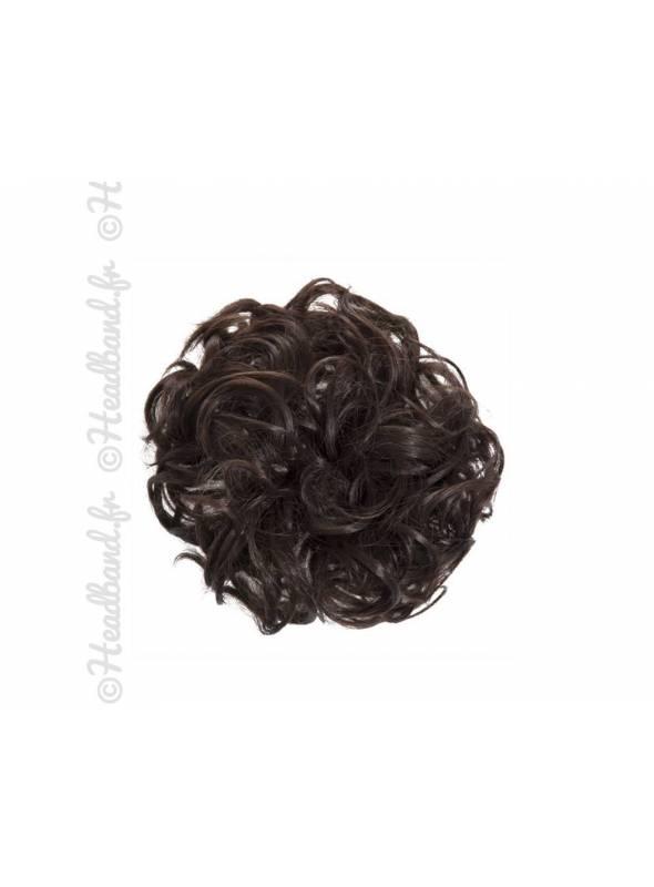 Chouchou en cheveux postiche - Châtain chocolat