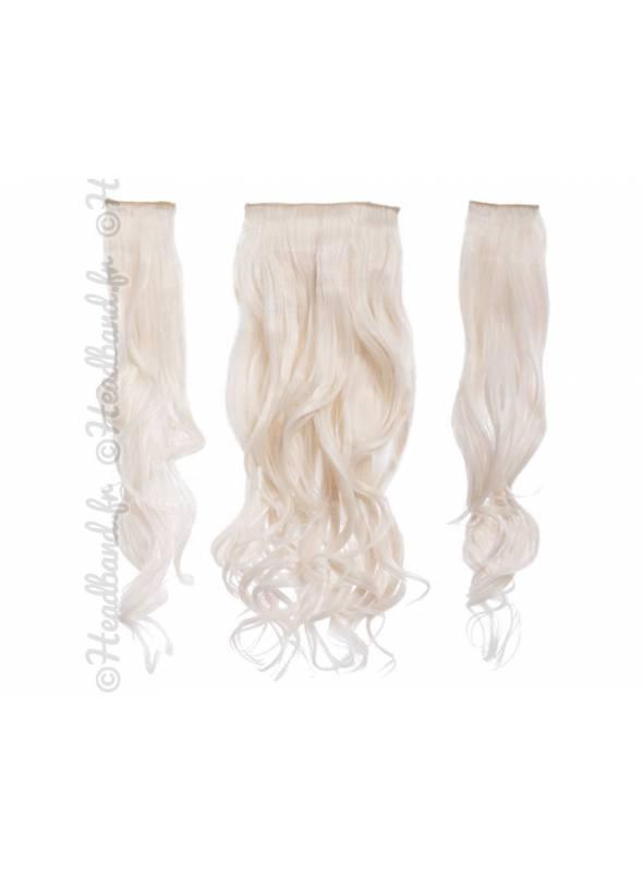 Kit extensions cheveux 3 bandes ondulées 50 cm - Blond très clair
