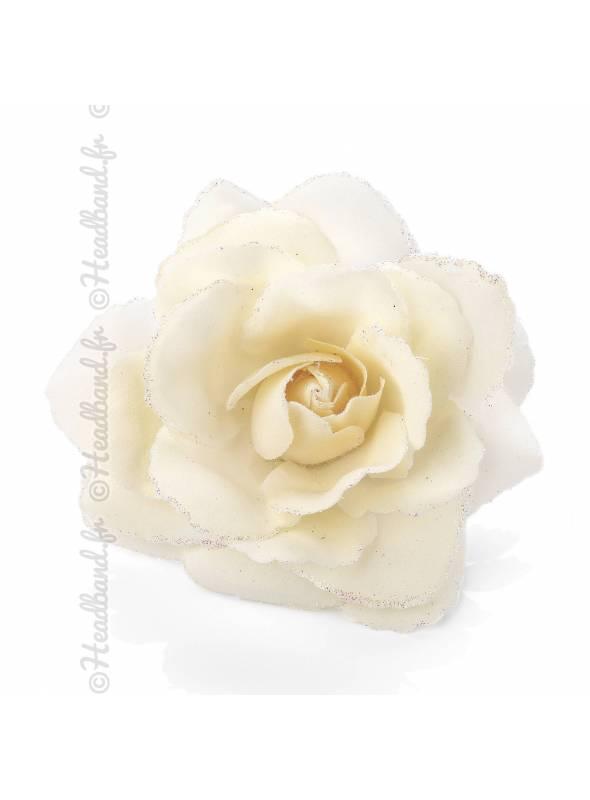 Pince rose glitter crème