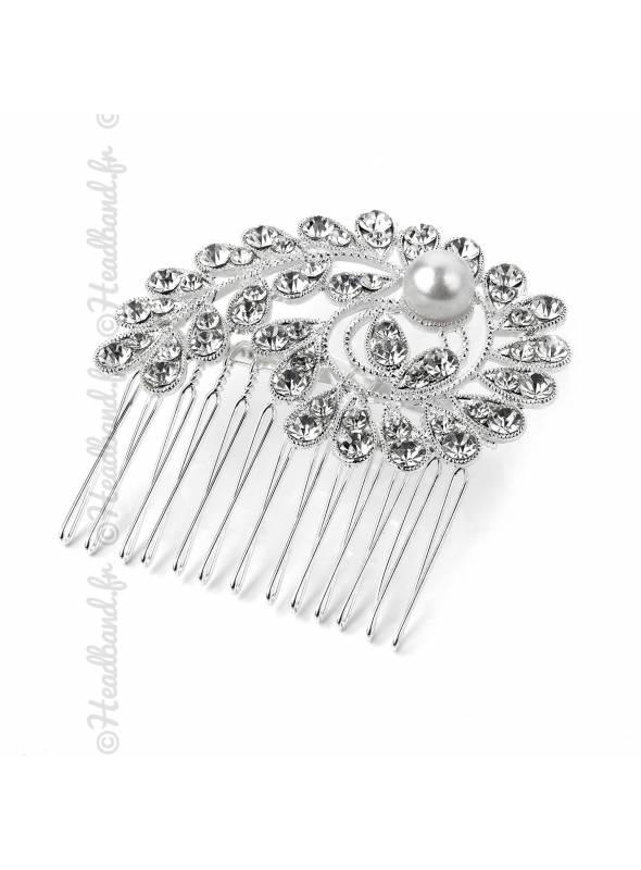 Peigne perle et strass en spirale