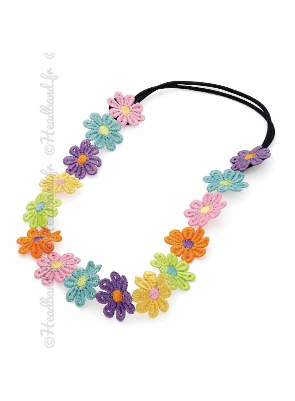 Bandeau dentelle fleur multicolore