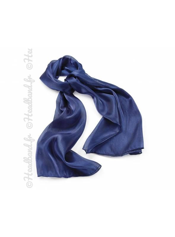 Foulard étole bleu effet métalisé