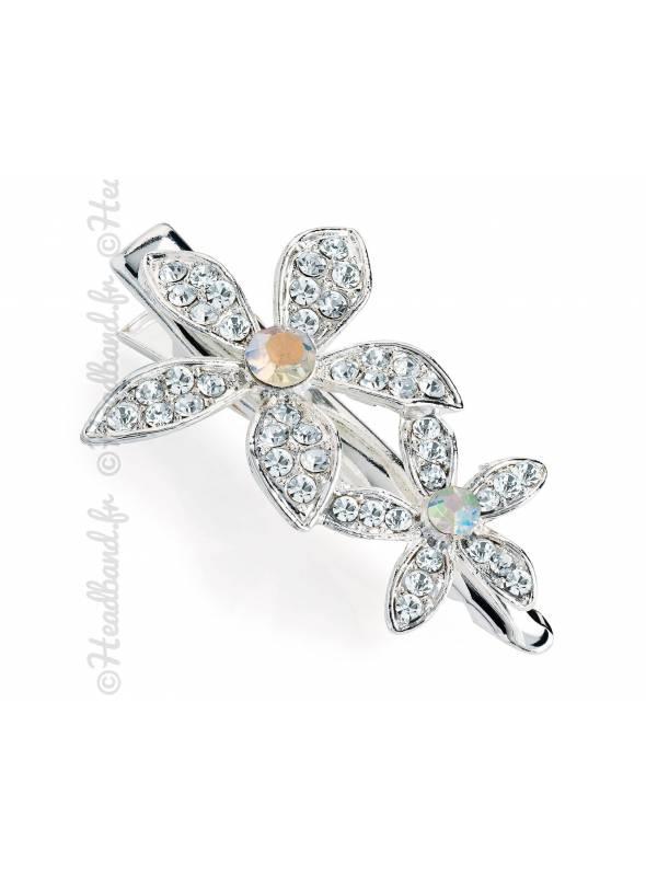 Pince clip chignon fleur cristal