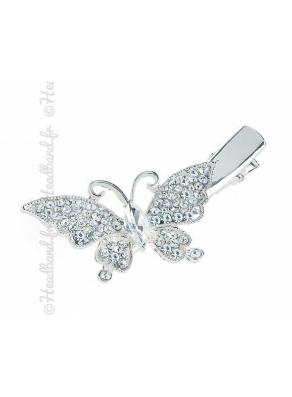 Pince clip chignon papillon strass