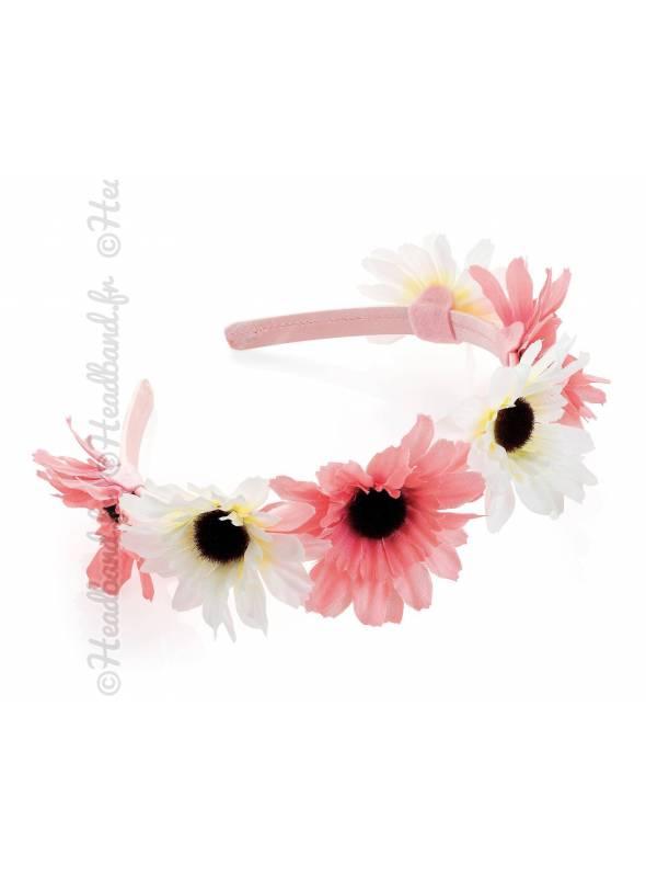 Serre-tête cérémonie bicolore à fleurs