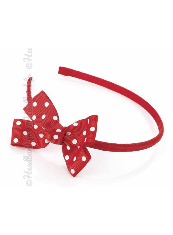 Serre-tête noeud pois fille rouge