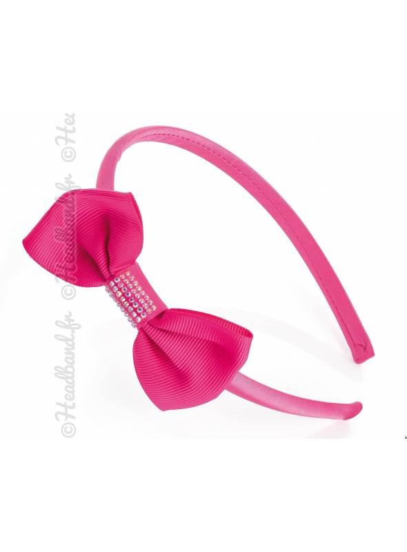 Serre-tête noeud strass rose fushia