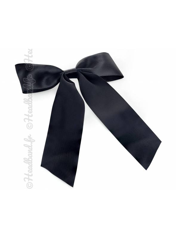 Barrette ruban long satin noir