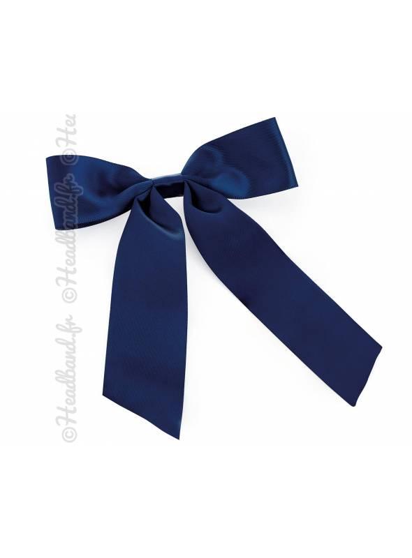 Barrette ruban long satin bleu