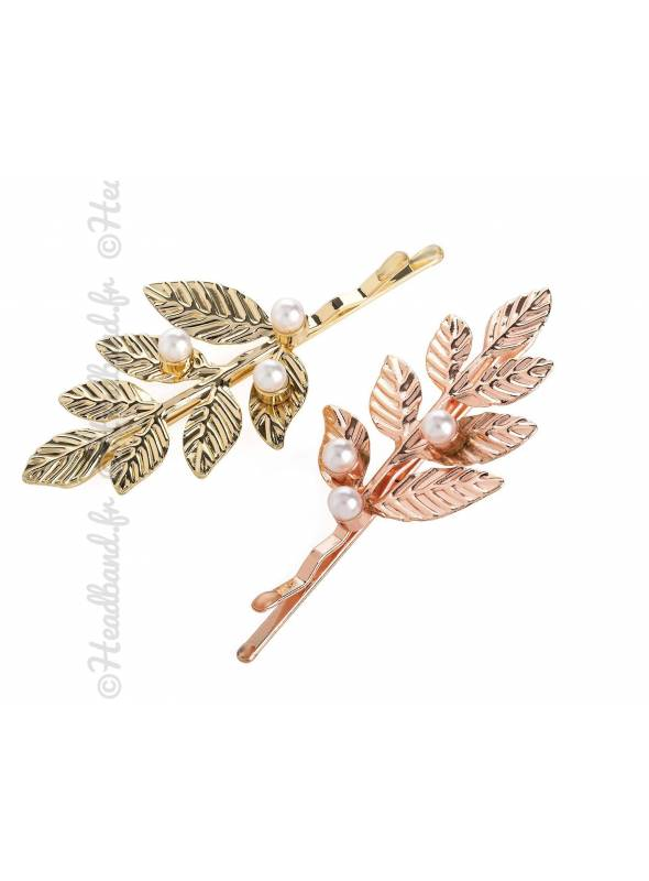 Lot de 2 barrettes feuilles perles rose gold