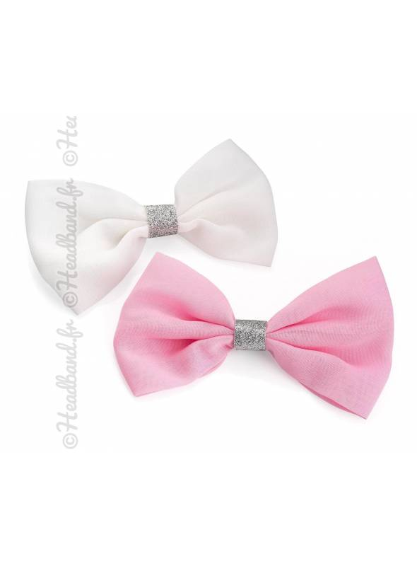 Lot de 2 barrettes noeud blanc et rose
