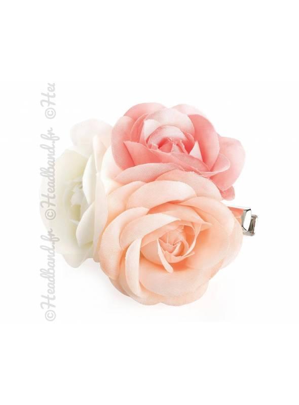 Barrette fleurs pastel demoiselle d'honneur