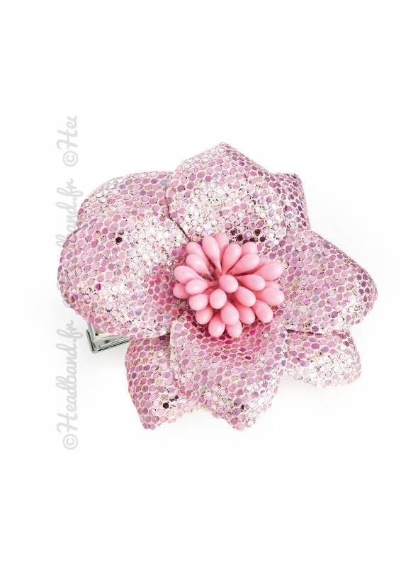 design professionnel achat authentique beaucoup de choix de Barrette cheveux fleur à sequins rose