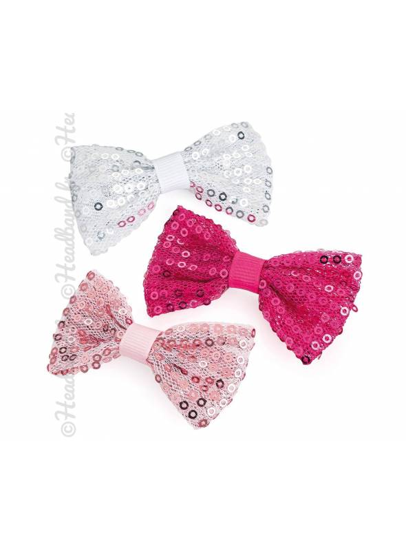 Set de 3 barrette cheveux noeud sequins